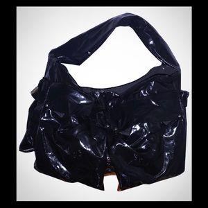 Sequoia Black Metallic Nylon Hobo Bag